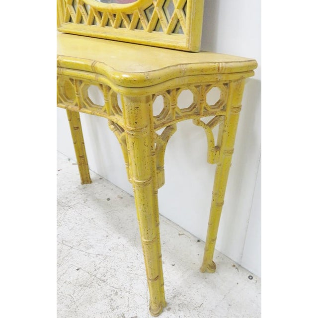 Chinoiserie Yellow Console Table & Mirror - Image 3 of 8