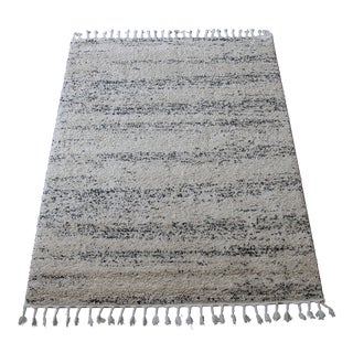 Distressed Ivory Shag Rug - 5' x 8'