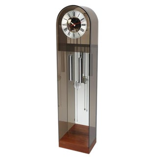 HOWARD MILLER SMOKED-LUCITE GRANDFATHER CLOCK