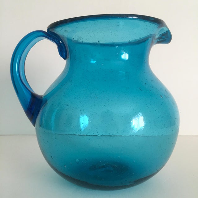 Mid-Century Blue Blenko Glass Pitcher - Image 7 of 11