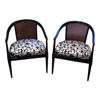 American of Martinsville Curved Cane Back Accent Chairs - A Pair