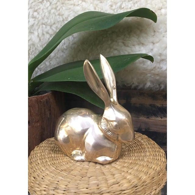 Mid Century Modern Brass Rabbit Bunny Figurine - Image 4 of 7