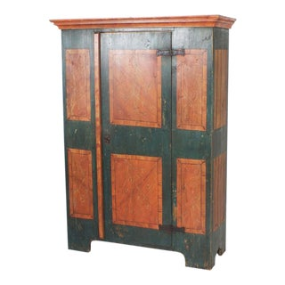 Dated 1789 18h C. Pine Armoire with Original Grain Paint