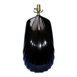 Tall Art Deco Gothic Black Laquer Ceramic Lamp