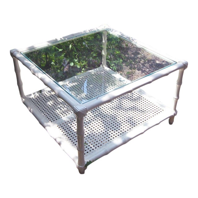 1970s Vintage Square White Wood Faux Bamboo Coffee Table With Glass Top and Caned Shelf - Image 1 of 4