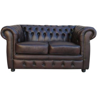 English Chesterfield Leather Sofa Love Seat