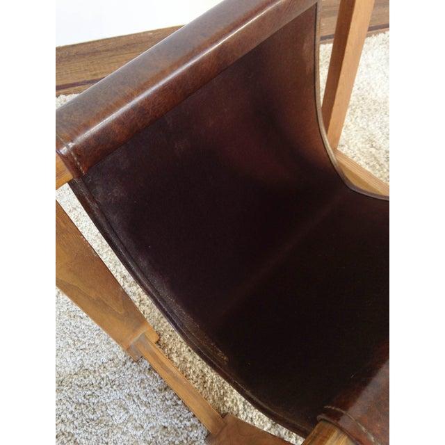 Image of Antique Leather Strap Magazine Rack