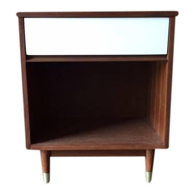 Mid-Century Walnut & White Lacquer Nightstand - Image 1 of 7