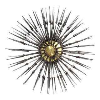 Abstract Starburst Welded Nail & Brass Wall Sculpture