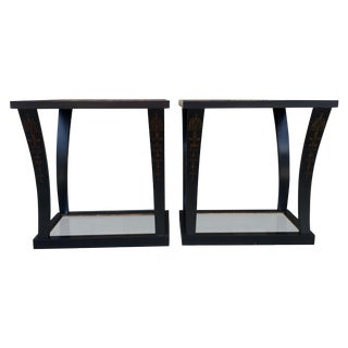 Mid-Century Antiqued Mirrored Top Tables - Pair
