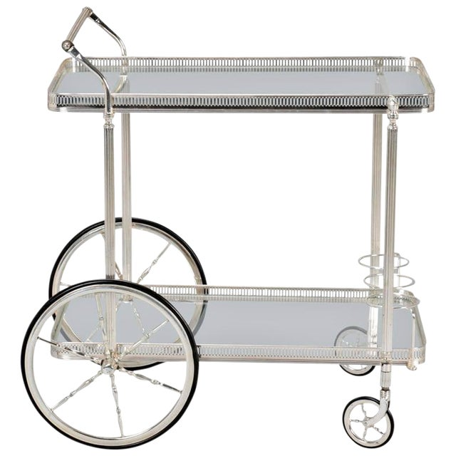 Mid-Century Nickel Plated Bar Cart or Drink Trolley - Image 1 of 8