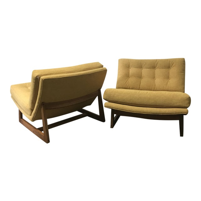 Mid-Century Modern Sled Base Lounge Chairs - A Pair - Image 1 of 11