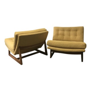Mid-Century Modern Sled Base Lounge Chairs - A Pair