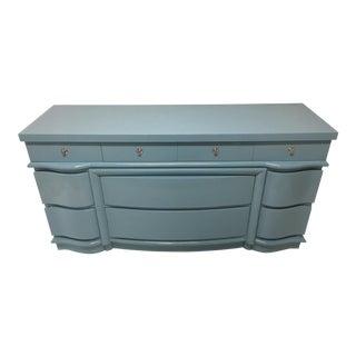 Dixie Blue Lacquered Nine Drawer Dresser