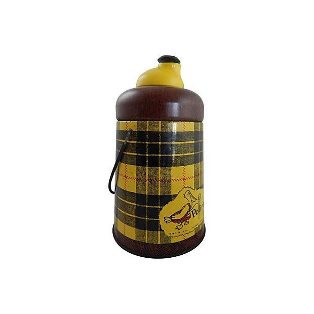 1950s Yellow Plaid Pelican Beverage Cooler - Image 4 of 5