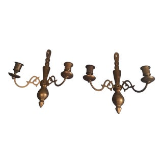 Vintage Brass Wall Sconce Candleholders - a Pair