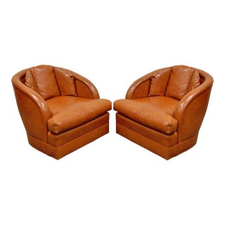 Vintage Mid Century Modern Sherrill Barrel Back Vinyl Club Lounge Chairs - a Pair