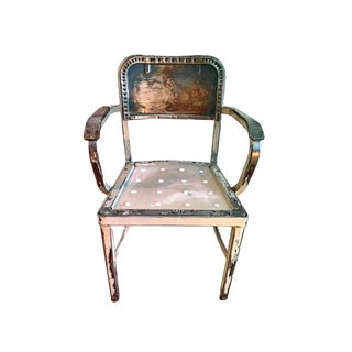 Antique Distressed Steelcase Accent Office Armchair