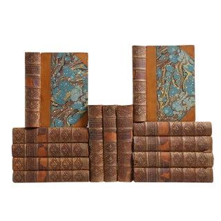 William Thackeray Rustic Antique Leather Books - Set of 13
