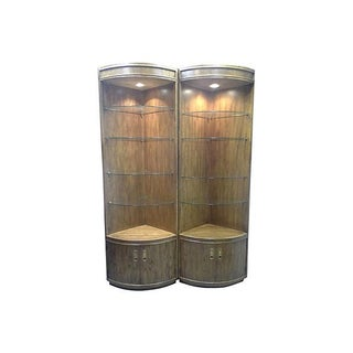 Campaign-Style Lighted Corner Curios - Pair