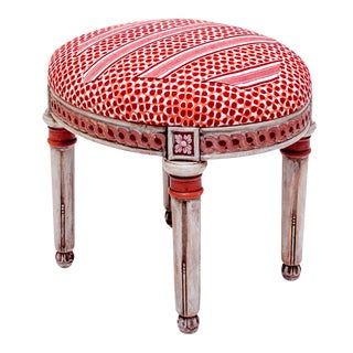 French Rose Collier Upholstered Foot Stool