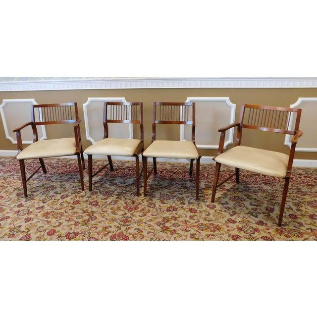vintage lane furniture walnut dining chairs set of 4 chairish