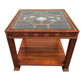 Chinese Chippendale Wood Fretwork Side Table