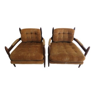 Mid-Century Safari Style Club Chairs- A Pair