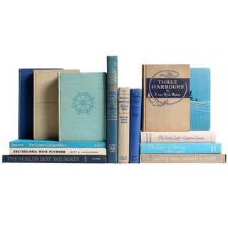 Vintage Nautical Blue & Tan Books - Set of 14