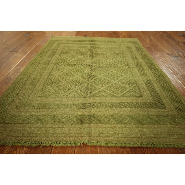 "Overdyed Green Handmade Rug - 4'10"" x 6' - Image 4 of 8"