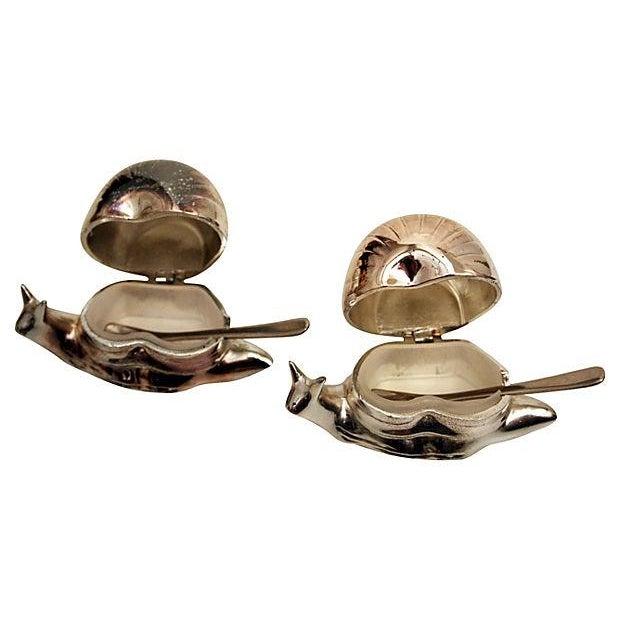 Image of Silver Snail Salt Cellars - a Pair