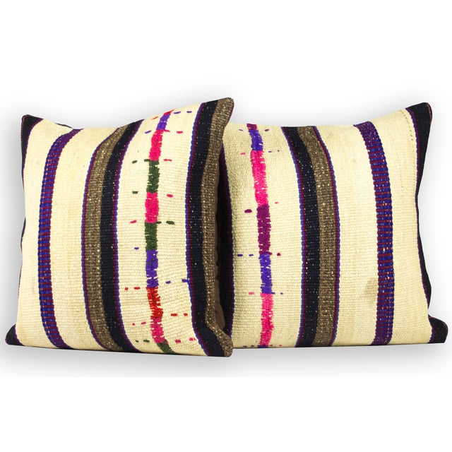 Handwoven Vintage Kilim Pillows - A Pair - Image 2 of 3