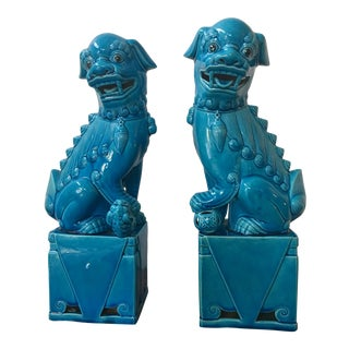 Antique Chinese Turquoise Foo Dogs Hand Carved Ceramic - A Pair