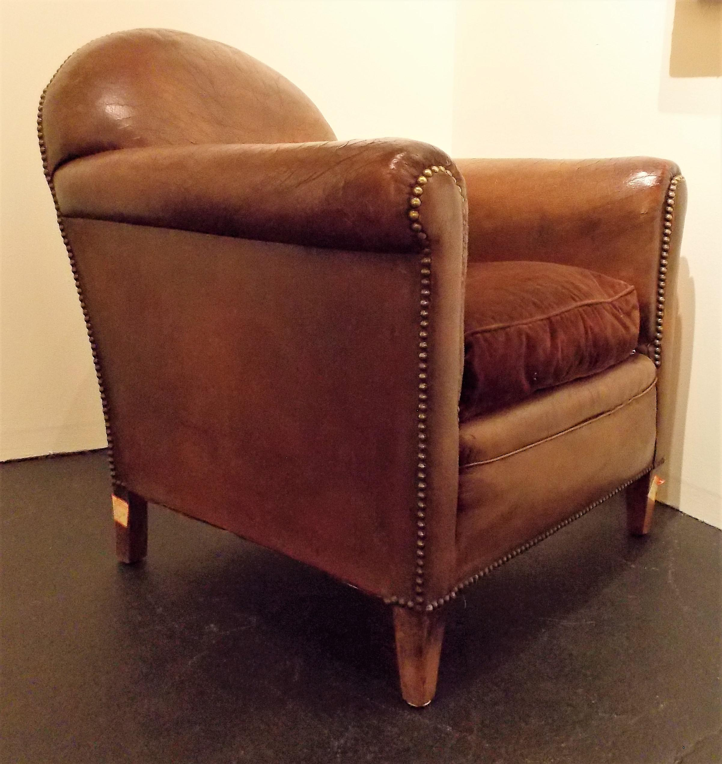 French Vintage Leather Club Chair   Image 5 Of 7