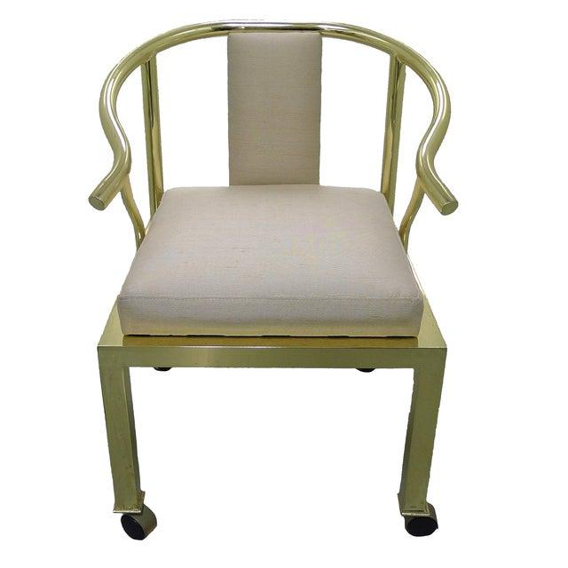 Brass Horseshoe Chair by Mastercraft - Image 1 of 4