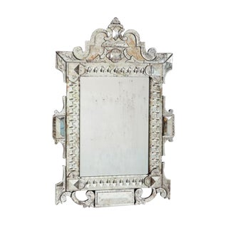 Vintage Silver Hand Etched Mirror by National Furniture Supply