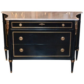 French Jansen Style Black Lacquered Commode