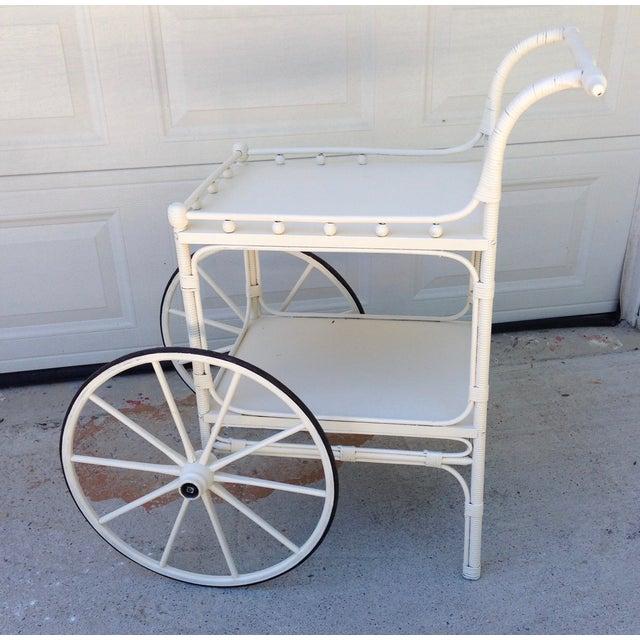 Vintage Heywood-Wakefield Wicker Bar Cart - Image 2 of 6