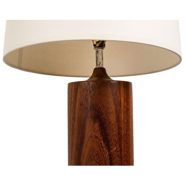Image of Mid-Century Large Columnar Turned Wood Table Lamp