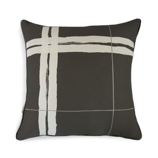 "Brushstroke Plaid Black & White 22"" Pillow"