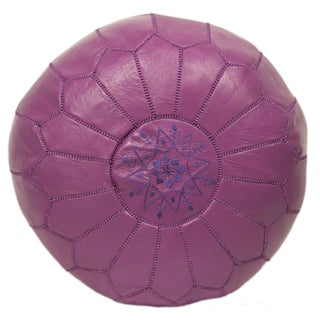 Embroidered Leather Pouf in Lavender Leather
