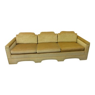 Hollywood Regency Asian Inspired Canary Yellow Sofa