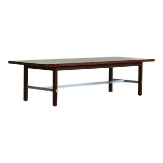 Paul McCobb Walnut and Aluminum Coffee Table for Calvin Furniture