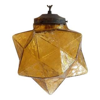 Amber Glass Star Pendant Light