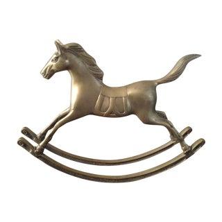Large Vintage Solid Brass Rocking Horse