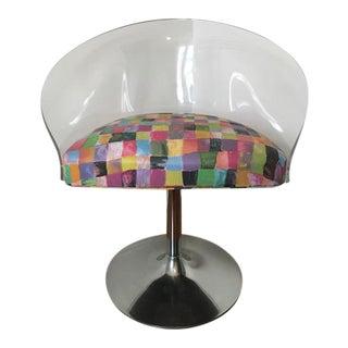 Vintage Lucite & Chrome Tulip Swivel Chair