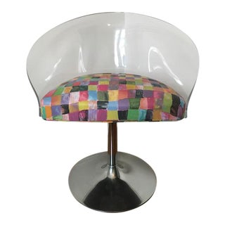 Vintage Lucite & Chrome Tulip Swivel Chair