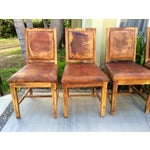 Image of Distressed Leather Dining Chairs - Set of 5