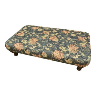 Oversized Floral Tapestry Ottoman on Sculptural Legs