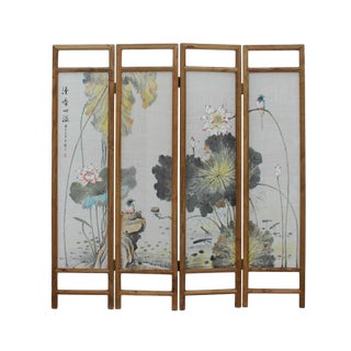 Chinese Lotus Leave Pond Canvas Painting Folding Screen Divider